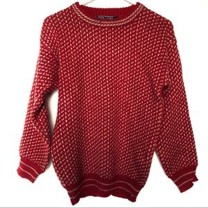 Woolovers 100% British Wool Red Nordic Sweater